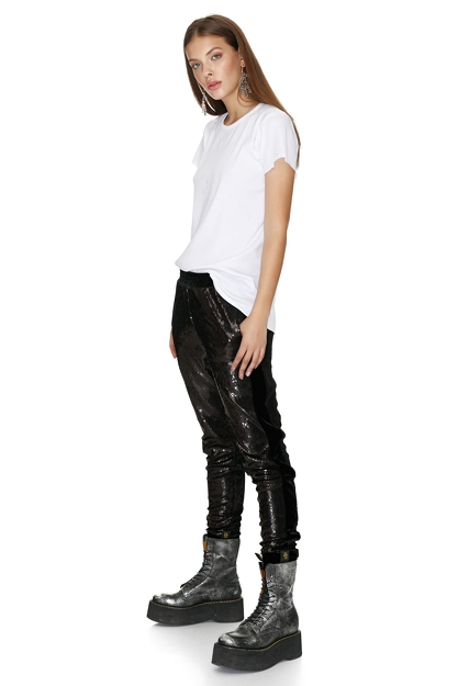 Black Sequin Pants with Velvet Side