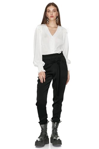 Ruffled white Shirt - PNK Casual
