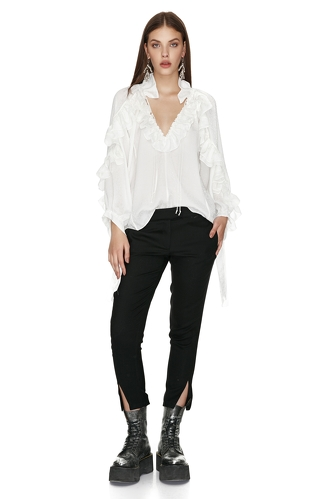 White Ruffled Top - PNK Casual