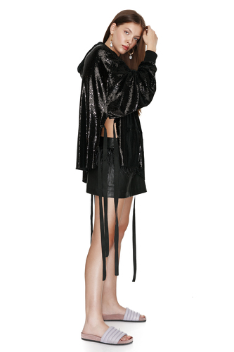 Black Sequin Cutout Hoodie - PNK Casual
