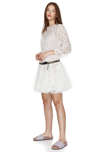 White Lace Flared Dress - PNK Casual