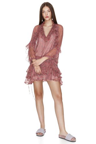 Ruffled Print Silk Mini Dress - PNK Casual