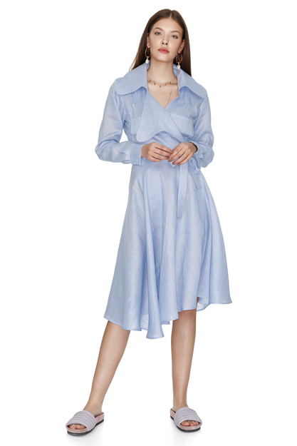 Blue Wrap Linen Midi Dress