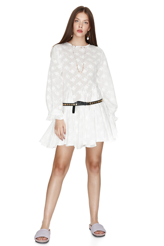 White Cotton Flared Dress - PNK Casual
