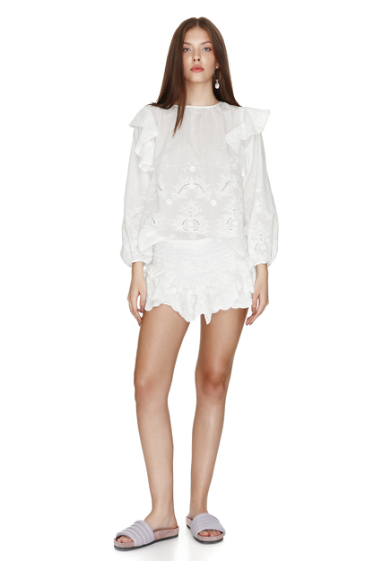 White Cotton Lace Blouse With Ruffles