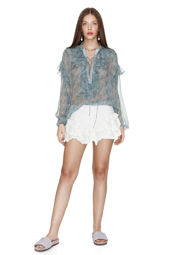 White Cotton Ruffled Shorts - PNK Casual