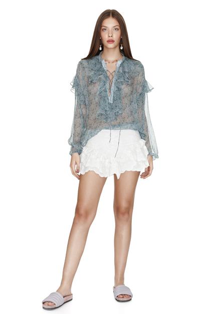 White Cotton Ruffled Shorts