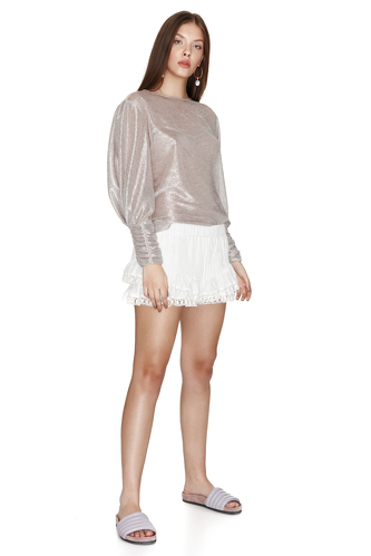 Silver Metallic Blouse - PNK Casual