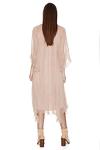 Beige Silk Chiffon Pleated Midi Dress