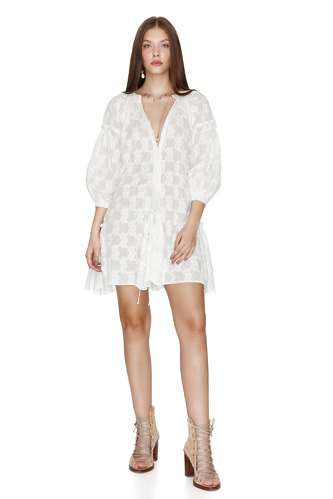 White Embroidered Cotton Mini Dress - PNK Casual
