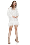 White Cotton Dress With Embroidered Hem