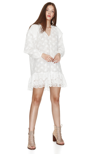 White Cotton Dress With Embroidered Hem - PNK Casual