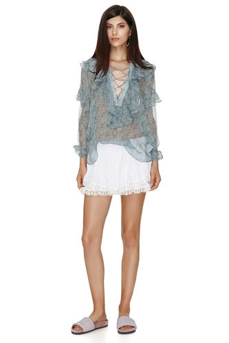 Silk Printed Blouse With Ruffles And Ties - PNK Casual