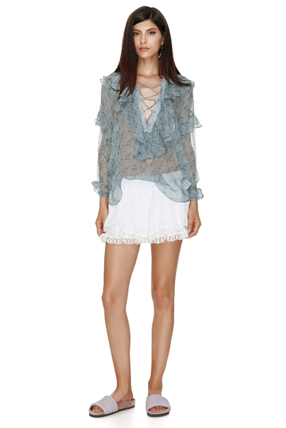 Silk Printed Blouse With Ruffles And Ties