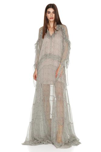 Ruffled Print Rose-Green Silk Maxi Dress - PNK Casual