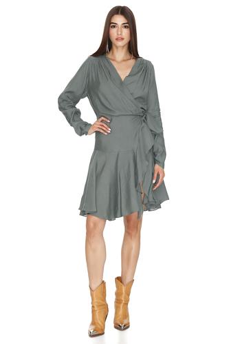 Kaki Ramie Wrap Dress - PNK Casual