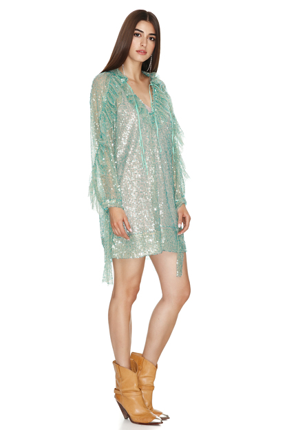 Aqua Sequins Mini Dress