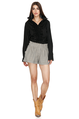 Ruffle Black Cotton Shirt - PNK Casual
