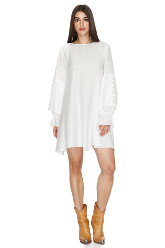 White Pleated Dress - PNK Casual