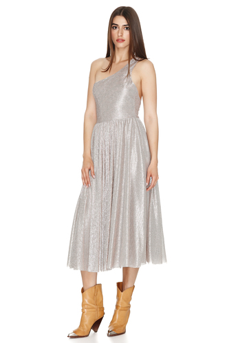 Silver Metallic One Shoulder Dress - PNK Casual