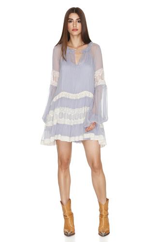 Blue Grey Silk Chiffon Mini Dress - PNK Casual
