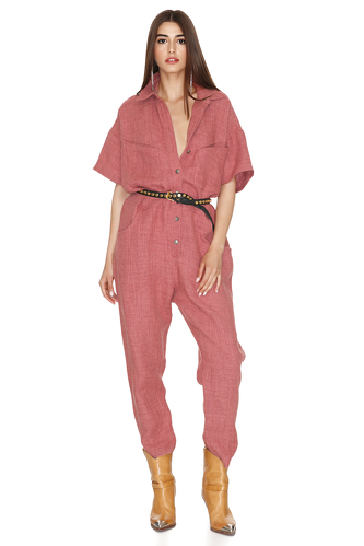 Linen Cropped Jumpsuit - PNK Casual