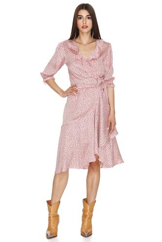 Rose Wrap-Effect Midi Dress - PNK Casual