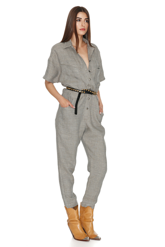 Grey-Green Linen Cropped Jumpsuit - PNK Casual