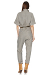 Grey-Green Linen Cropped Jumpsuit
