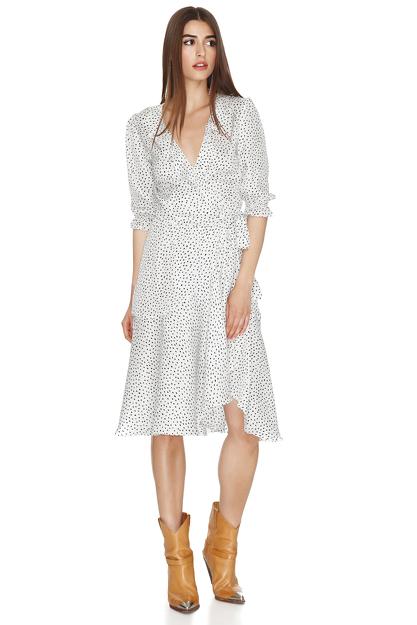 White Wrap-Effect Midi Dress
