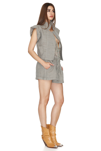 Grey-Green Linen Vest - PNK Casual