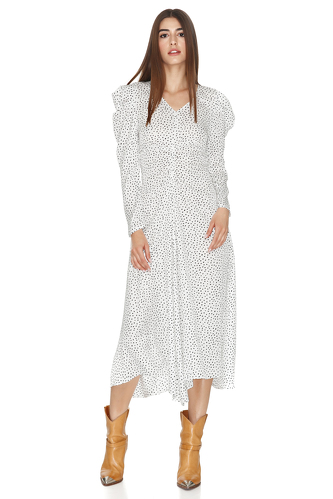 White Midi Dress With Oversized Shoulders - PNK Casual