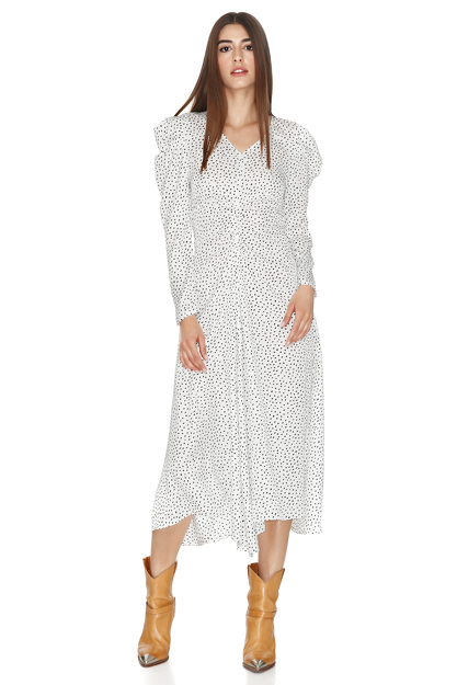 White Midi Dress With Oversized Shoulders