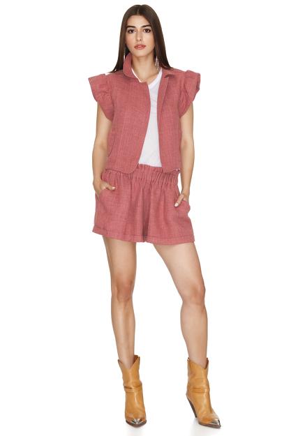 Brick-Orange Linen Vest