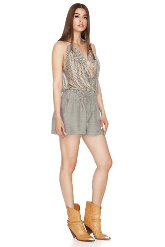 Grey-Green Linen Shorts - PNK Casual