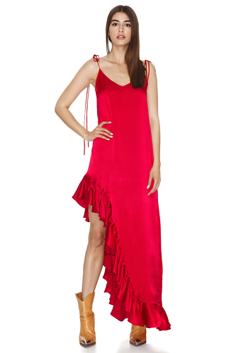 Red Asymmetrical Dress with Adjustable Straps - PNK Casual