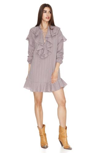 Mauve Cotton Ruffled Dress - PNK Casual