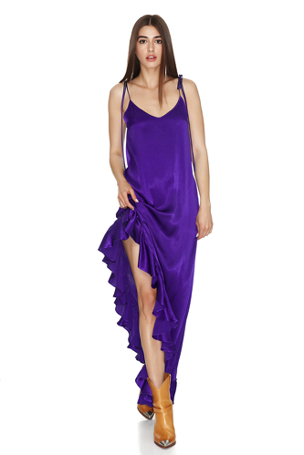 Purple Asymmetrical Dress with Adjustable Straps - PNK Casual