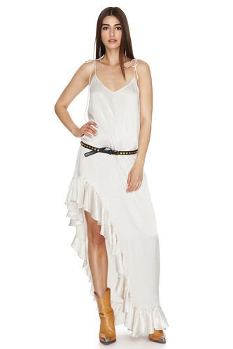 White Asymmetrical Dress with Adjustable Straps - PNK Casual