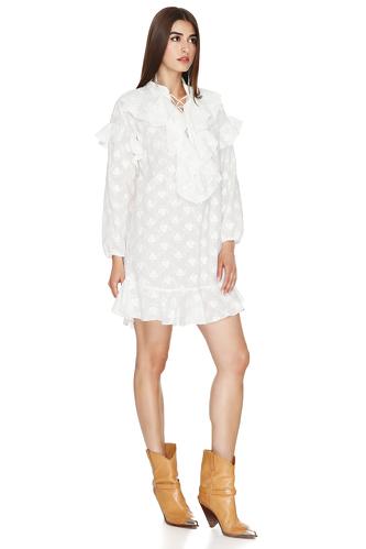 White Embroidered Ruffled Mini Dress - PNK Casual
