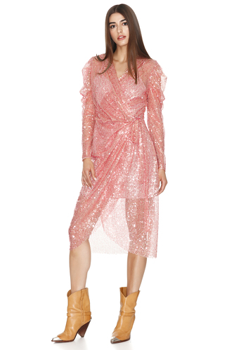 Pink Sequins Wrap Midi Dress - PNK Casual