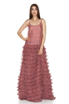 Ruffled Printed Silk Maxi Dress With Adjustable Straps