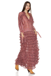 Ruffled Flared Printed Silk Maxi Dress