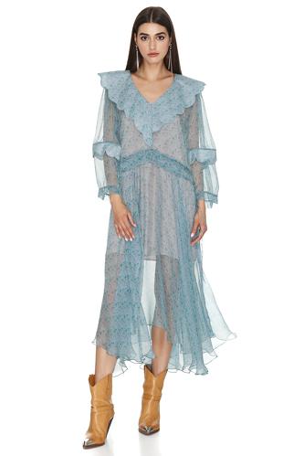 Oversized Collar Printed Silk Midi Dress - PNK Casual