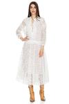 White Midi Lace Flared Dress