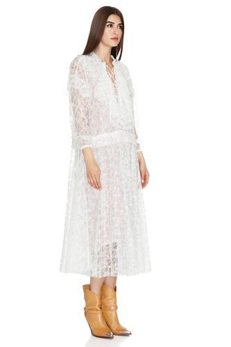 White Midi Lace Flared Dress - PNK Casual
