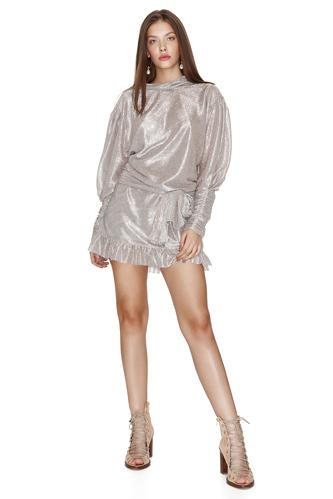 Backless Silver Metallic Mini Dress - PNK Casual