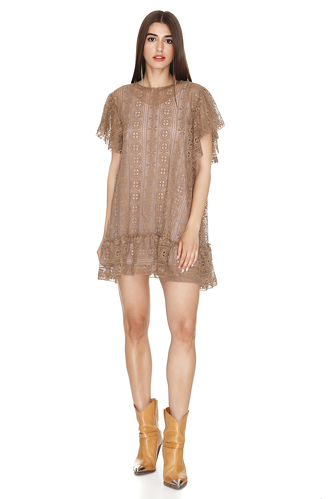 Brown Lace Oversized Mini Dress - PNK Casual