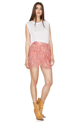 Pink Sequins Wrap Mini Skirt - PNK Casual