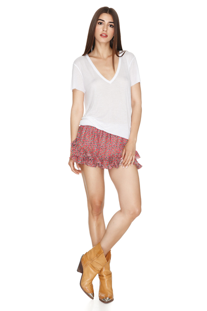 White Modal-Cotton T-shirt
